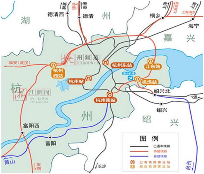 在这次铁路枢纽修编中,杭州将新引入6条高铁路线,让市民和游客从杭州乘高铁出发能去的城市更多、所需时间更短。商合杭高铁(湖州—杭州西段)商合杭高铁将引入杭州西站,出站后与杭黄高铁接轨,形成沪昆高铁在浙江省境内的第二通道。这意味着,在不久的将来,杭州城西居民可以直接坐高铁到合肥和商丘等城市。杭温高铁。杭温高铁建成后,从杭州到温州只需要约1个小时,比现在减少一半时间。目前,杭温高铁义乌—温州段已经开工建设。这次杭州新引入的,是指杭州西—义乌段。按照规划,从义乌站出站后,向北在